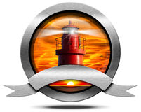 Metallic Icon with Red Lighthouse Stock Image