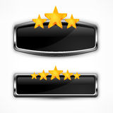Metallic icon with stars Stock Image