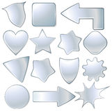 Metallic icons. Collection of various metallic plates / labels / icons - vector illustration stock illustration