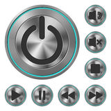 Metallic Icons Media Player Royalty Free Stock Images