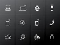 Metallic Icons - Wireless. Wireless technology icon series in metallic style Royalty Free Stock Photos