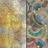 Metallic imitation, abstract shabby colored background, floral p. Attern oriental Stock Image