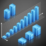 Metallic infographics blue elements. Set of blue customizable metallic elements with scale. 3d infographics histogram Stock Photography