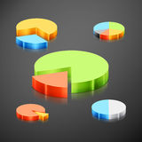 Metallic infographics pie graph set Stock Photography