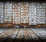 Metallic interior. Old metallic interior, iron wall Royalty Free Stock Images