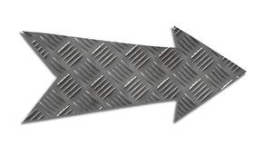 Metallic iron direction arrow sign grey steel checker plate or diamond plate industrial metal texture pattern cut out isolated royalty free stock photos
