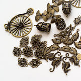 Metallic jewelry parts II. A mix of metallic jewelry parts royalty free stock photography