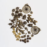 Metallic jewelry parts. A mix of metallic jewelry parts stock images