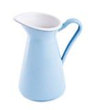 Metallic jug. Metallic blue jug on a white background Stock Photo