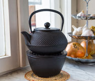 Metallic kettle heated Royalty Free Stock Photo