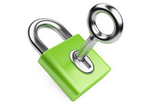 Metallic key in green padlock. Isolated 3D on a white background Royalty Free Stock Image