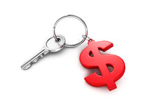 Metallic key with red dollar currency symbol. Business success concept 3d render illustration Royalty Free Stock Image