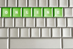 Metallic keyboard with the word ONLINE Stock Photos