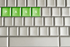 Metallic keyboard with the word PASS Stock Photography