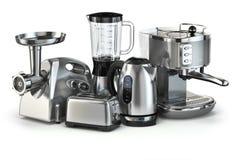 Metallic kitchen appliances. Blender, toaster, coffee machine, m Stock Photo
