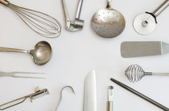 Metallic kitchen utensils and tools Royalty Free Stock Photo
