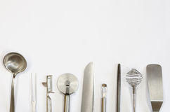 Metallic kitchen utensils and tools Royalty Free Stock Photography