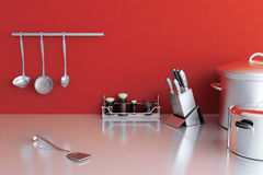 Metallic kitchenware Stock Images