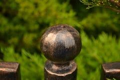 metallic-knob-on-garden-fence Stock Photos