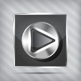 Metallic knob with play icon. On the striped background Royalty Free Stock Photography