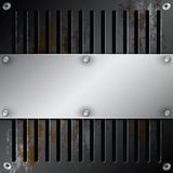 Metallic label with grille rusty Royalty Free Stock Image