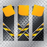 Metallic labels set with X shaped grunge lines Stock Photo
