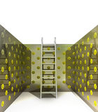 Metallic ladder in juan pattern painted room Royalty Free Stock Images