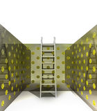 Metallic ladder in pound pattern painted room Stock Photo