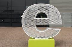 Metallic letter E stock photos