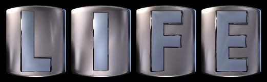 Metallic life word. Metallic blue silver life word realistic 3d rendered on black background Stock Images