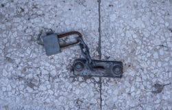 Metallic padlock outdoors royalty free stock photography