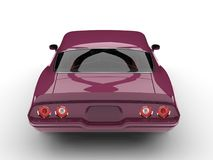 Metallic magenta old school vintage American car - back view. Isolated on white background Royalty Free Stock Photography