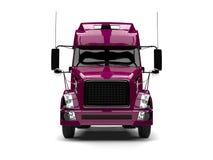 Metallic magenta semi trailer truck - front view royalty free illustration