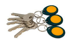 Metallic and magnetic (proximity) keys. Isolated on white background.psd Stock Images