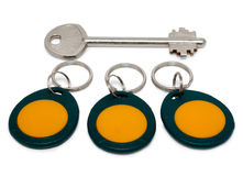 Metallic and magnetic (proximity) keys. Isolated on white background.psd Royalty Free Stock Photo