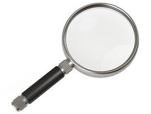 Metallic magnifying glass. With black handle on white background Stock Photography