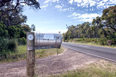 Metallic Mailbox along countryside road Royalty Free Stock Photography