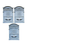 Metallic mailboxes in gray isolated on white background. Royalty Free Stock Images