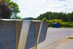 Metallic mailboxes post Stock Photography