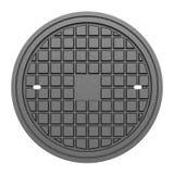 Metallic manhole cover isolated on white Stock Photography