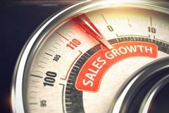 Sales Growth - Business Mode Concept. 3D. Metallic Manometer with Red Punchline Reach the Sales Growth. Illustration with Depth of Field Effect. 3D royalty free stock images