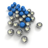 Metallic marbles in blue and chrome Stock Photos