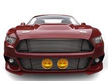 Metallic maroon muscle car - extreme closeup shot Stock Photos