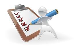 Metallic mascot survey feedback concept. Metallic cartoon mascot character survey feedback concept Stock Image