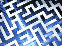 Metallic maze background with blue flame. High resolution 3D image Royalty Free Stock Photography