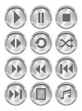 Metallic Media Buttons. A set of 12 shiny metallic media buttons Stock Illustration