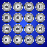 Metallic media player audio video icon circle button Stock Images
