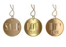 Metallic Metal Luxury Discount Price Tag Set Royalty Free Stock Photo