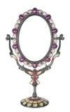 Metallic mirror on a stand on a white background, souvenir Stock Photo