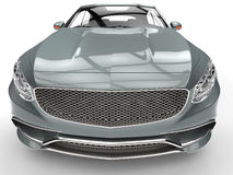 Metallic modern expensive car - fisheye lens shot. 3D Illustration Royalty Free Stock Photo
